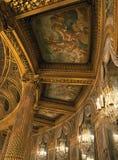 皇家歌剧天花板的细节在凡尔赛宫的 图库摄影
