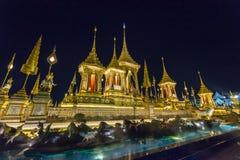 皇家火葬用的柴堆的建造场所在晚上在曼谷,泰国 免版税图库摄影