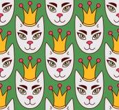 皇家猫面孔无缝的传染媒介样式 库存图片