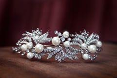 皇家珍珠王冠,新娘的冠 婚礼,女王/王后 免版税图库摄影