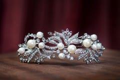 皇家珍珠王冠,新娘的冠 婚礼,女王/王后 免版税库存图片