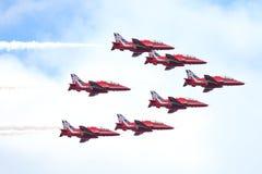皇家空军展示在塔林,爱沙尼亚- 7月23 英国皇家空军红色箭头皇家空军飞行表演塔林事件, 2013年7月23日 免版税库存图片