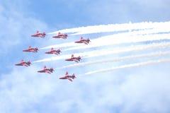 皇家空军展示在塔林,爱沙尼亚- 7月23 英国皇家空军红色箭头皇家空军飞行表演塔林事件, 2013年7月23日 图库摄影
