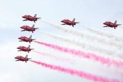皇家空军展示在塔林,爱沙尼亚- 7月23 英国皇家空军红色箭头皇家空军飞行表演塔林事件, 2013年7月23日 库存图片