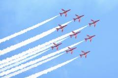 皇家空军展示在塔林,爱沙尼亚- 7月23 英国皇家空军红色箭头皇家空军飞行表演塔林事件, 2013年7月23日 库存照片