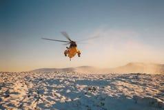皇家空军抢救在山的Seaking直升机 库存照片