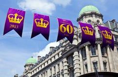 皇家第60或第75周年纪念横幅在伦敦 库存照片