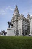 皇家肝脏大厦和爱德华七世国王雕象,利物浦,英国 库存图片