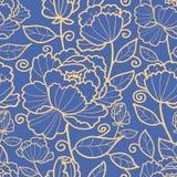 皇家花和叶子无缝的样式 免版税库存图片