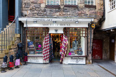 皇家英里的商店在爱丁堡,苏格兰 库存照片