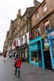 皇家英里的商店在爱丁堡,苏格兰 免版税库存照片
