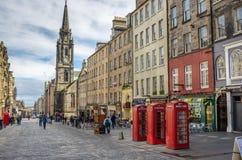 皇家英里的电话亭在爱丁堡 免版税库存图片