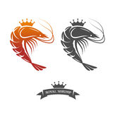 皇家虾标志 免版税库存照片
