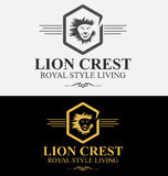 皇家豪华狮子冠商标传染媒介例证 免版税库存照片