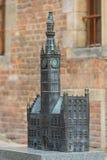 皇家路线的14世纪格但斯克主要城镇厅,微型为窗帘,格但斯克,波兰 免版税库存图片