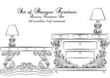 皇家巴洛克式的传染媒介经典家具桌和灯集合 库存照片