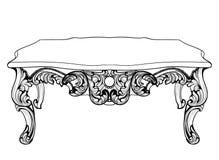皇家巴洛克式的嵌墙桌子 法国豪华被雕刻的装饰品装饰了桌家具 传染媒介维多利亚女王时代的皇家样式 免版税库存照片