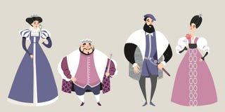 皇家 童话 在历史服装的滑稽的漫画人物 库存例证