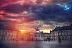 皇家Amalienborg宫殿在哥本哈根 库存图片