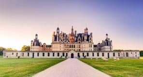 皇家Chateau de Chambord在晚上,法国 库存照片