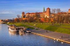 皇家Wawel城堡在维斯瓦河的克拉科夫 库存图片