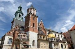 皇家Wawel城堡的,克拉科夫,波兰哥特式Wawel大教堂 免版税库存图片