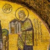 皇帝康斯坦丁马赛克伟大在Hagia索非亚,伊斯坦布尔 免版税库存照片
