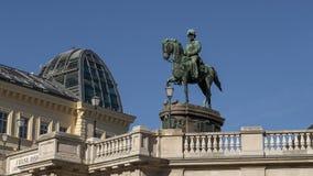 皇帝弗朗茨・约瑟夫一世,阿尔贝蒂娜美术馆,维也纳,奥地利雕象  免版税图库摄影