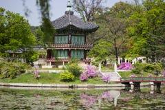 皇帝的韩国宫殿亭子,景福宫宫殿,汉城,韩国 库存图片