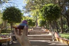 皇帝马克西门科纪念教堂小山的响铃(塞罗de拉斯坎帕纳斯)位于圣地亚哥de QuerA©taroo,墨西哥 免版税库存图片