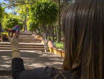 皇帝马克西门科纪念教堂小山的响铃(塞罗de拉斯坎帕纳斯)位于圣地亚哥de QuerA©taroo,墨西哥 免版税库存照片