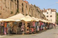 皇帝Diocletian的宫殿 东部墙壁 已分解 克罗地亚 免版税库存图片