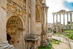 皇帝Septimius Severus曲拱在罗马 免版税库存照片