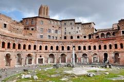 皇帝Trajan罗马皇家论坛在罗马,意大利 库存图片