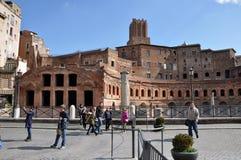 皇帝Trajan罗马皇家论坛在罗马,意大利 图库摄影