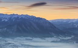 皮亚特拉Craiului国立公园,日落的罗马尼亚 免版税库存照片