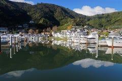 皮克顿的小游艇船坞有反射的,新西兰 免版税库存照片