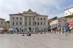 皮兰城镇厅在斯洛文尼亚 库存图片