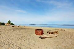 皮吉特湾看法从Alki海滩公园的 免版税库存照片