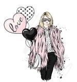 皮大衣、长裤和玻璃的美丽的时髦的女孩 流行的服装和辅助部件 时尚&样式 向量例证