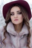 皮大衣和帽子的美丽的逗人喜爱的典雅的女孩走在冬天森林明亮的冷淡的早晨的 图库摄影