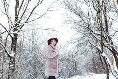 皮大衣和帽子的美丽的逗人喜爱的典雅的女孩走在冬天森林明亮的冷淡的早晨的 免版税库存图片