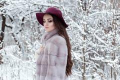 皮大衣和帽子的美丽的逗人喜爱的典雅的女孩走在冬天森林明亮的冷淡的早晨的 免版税图库摄影