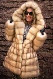 皮大衣的妇女 图库摄影