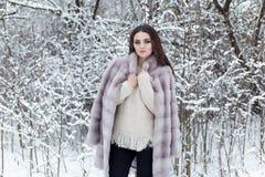 皮大衣的美丽的逗人喜爱的典雅的女孩在冬天森林明亮的冷淡的上午走 免版税库存图片
