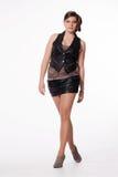 皮夹克的,超短裙,高跟鞋少妇,有excep的 免版税库存图片