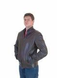 皮夹克的年轻人。 图库摄影