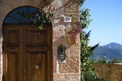 皮恩扎大概是整个Val d ` Orcia的最显耀和多数最重要的艺术性的中心 意大利siena托斯卡纳 免版税图库摄影