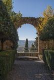 皮恩扎- TUSCANY/ITALY, 2016年10月30日:有Giardino的意大利新生庭院Piccolomini宫殿所有` italiana  库存照片