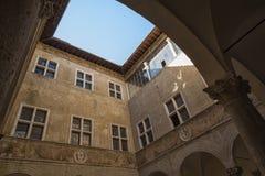 皮恩扎- TUSCANY/ITALY, 2016年10月30日:Palazzo Piccolomini,其中一个新生建筑学的第一个例子在皮恩扎, VA 库存照片